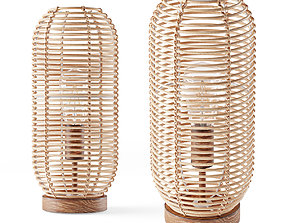 Ida lantern rattan table lamp 3D model cage