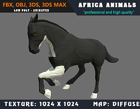 Low Poly Black Horse Cartoon 3D Model Animated animated 3