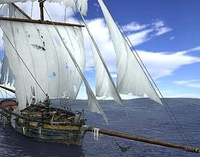 Sloop sailing ship pack 3D model
