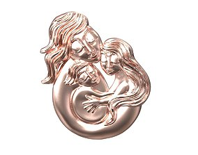 3D printable model Mother baby pendant