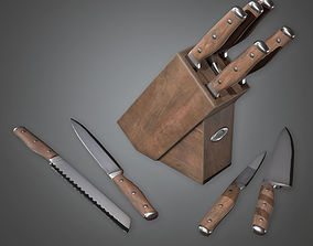 3D model Knife Block Set KTC - PBR Game Ready