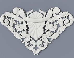 3D printable model Baroque cartouches onlay element 009