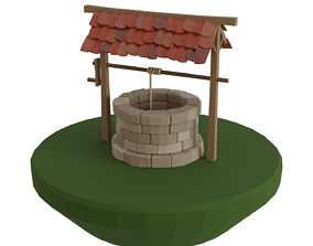 Low poly well 3D asset low-poly
