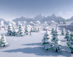 3D model Lowpoly Arctic Winter Tundra Environment Pack