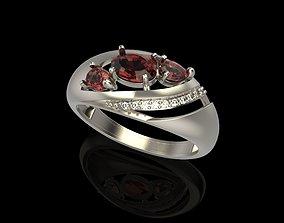 Women Ring with gem and diamonds 3dm stl 3D print 1