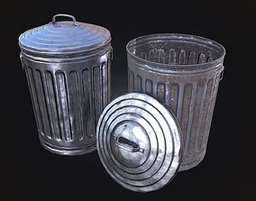 3D asset low-poly Trash Can