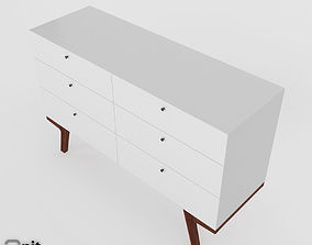 pecan 3D model Modern 6-Drawer Dresser by West Elm