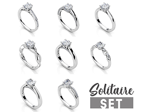 3D print model Solitaire ring set
