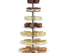 Glass Stand with Sweatrolls and Cakes 3D