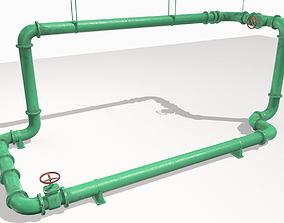 3D asset low-poly Modular pipes pack 3