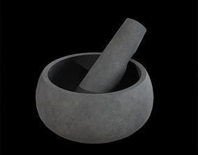Mortar and Pestle concrete grey 3D model