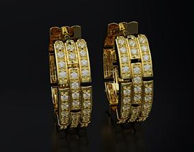 Bamboo circle earrings 611 3D print model