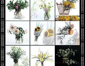 Scandinavian bouquets collection 3D model