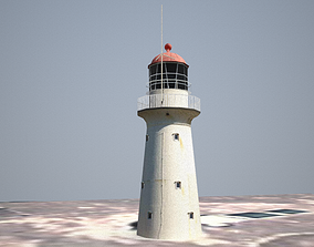 3D model low-poly Bustard Head Lighthouse