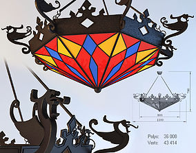 Wrought iron chandelier with dragons 3D model