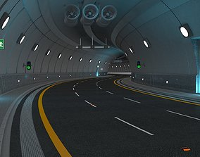 Highway Tunnel Adjustable and Rigged 3D model animated