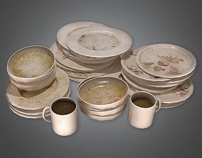 3D model Dirty Dish Set HVM - PBR Game Ready