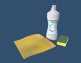 Dishwashing Soap - Sponge - Cleaning Cloth 3D model