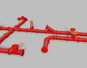 pipe set 3D asset game-ready