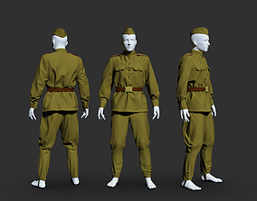 Military uniform of a soldier of the Soviet Army 3D model