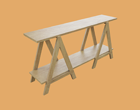 Wooden Sawhorse Support Carpentry 3D model