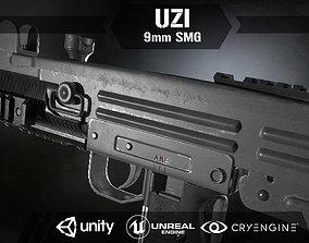 Uzi Sub Machine Gun 3D asset rigged
