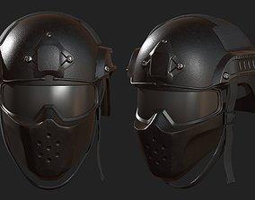 Helmet mask millitary combat soldier armor 3D asset 1