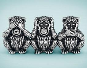 Three Wise Monkeys gold 3D printable model