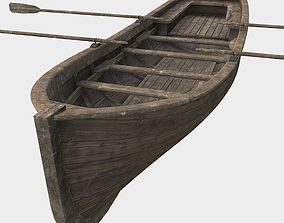 Low Poly PBR Row Boat 3D model