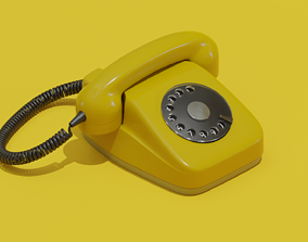3D model Retro Telephone Different color