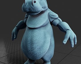 rigged Hippo Creature Rigged Low Poly PBR 3D Model