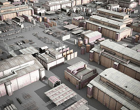 lowpoly buildings industry 3D model
