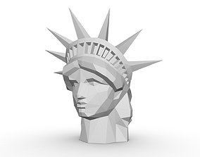 3D print model statue of liberty head low poly