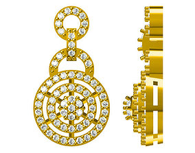 Gold necklace classic round brilliant cut 3D print model 1