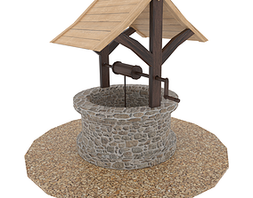 Water well low poly 3D model low-poly