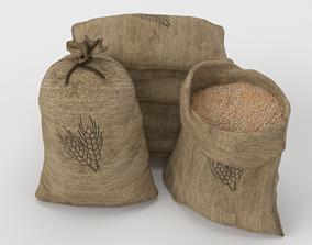 Food Sacks Grain Tied Open Stackable 3D Model