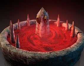 3D model Blood fountain with skulls animated