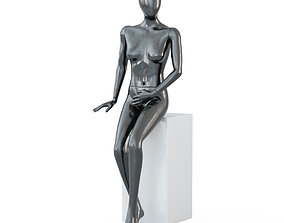 3D Female black mannequin in sits pose 60