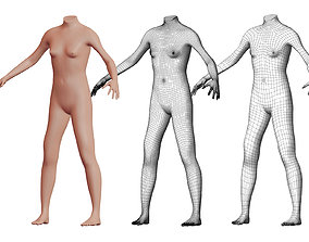 Character 20 High and Low-poly - Body Female 3D