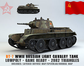 3D asset Low Poly BT-7 light cavalry tank
