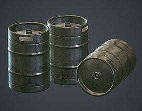 Stainless Steel Beer Keg PBR Game Ready 3D asset