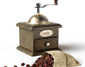 Coffee set with coffee grinder and coffee beans 3D model
