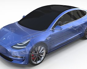 3D Tesla Model 3 with Chassis Blue