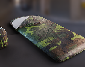 Military Sleeping Bag - Open and Rolled PBR 3D model