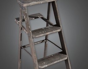 3D asset Wooden Ladder TLS - PBR Game Ready portable