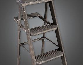 3D asset Wooden Ladder TLS - PBR Game Ready