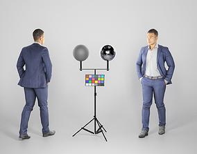 Handsome man in darkblue suit walking 210 3D asset