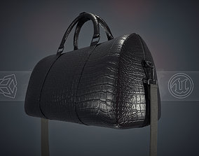 Black Leather Bag With Strip 3D asset