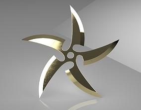 Ninja Star 5 blades One sided 3D print model