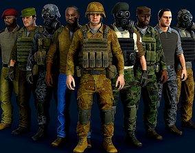 Modular military character 3D asset